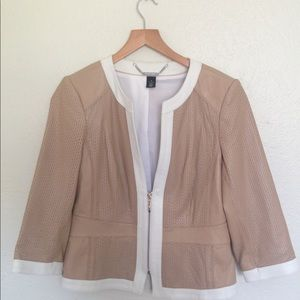 White | Black Leather Jacket
